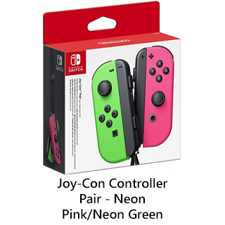 Switch JoyCon Controllers Pink and Green